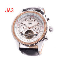 Wholesale jaragar men leather luxury swiss automatic tourbillon glass back dive mens mechanical watch