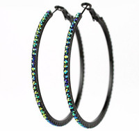 Wholesale 70mm AB Rhinestone Big Circle Earrings Black Hoop Earrings pairs