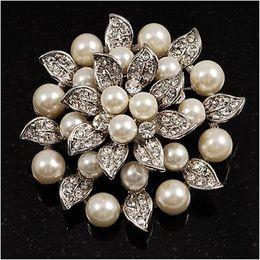 Silver Plated Rhinestone Crystal Cream Pearl Leaf Lotus Flower Bridal Brooch Pin
