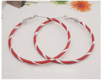 Wholesale Fashion Big Hoop Earrings Threaded Earrings pairs Six Colours to Choose