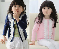 Wholesale Cute Children Baby Kid Girl Coat Long Sleeve Lace Collar Jacket Coats Clothes Free Ship