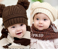 Wholesale Children s caps unisex baby double ball Bars Baseball wool cap Modeling Knitted hat LXX061