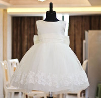 Knee-Length Bateau Satin Birthday gift party dress baby week child princess dress flower girl dress costumes children's cloth