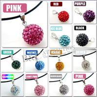 Wholesale 10mm Disco Ball Crystal Pave Bead Charm Pendants Fit Necklace Colors