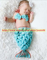 baby clothes uppers - Baby Girl Crocheted Mermaid Tail dresses Seaweed Upper Outer bra Newborn Cosplay photography Props Set Suit Kids Clothing blue party gifts
