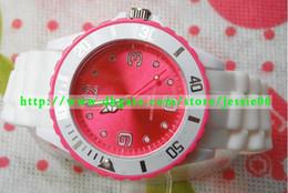 Wholesale Relojes de silicona de moda MM bandas blancas doble cara de colores de colores Jelly Candy Watch hombre mujer