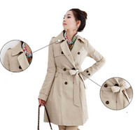 Wholesale 2012 New woman Coat Long clothes trench windcheater trench coats two color
