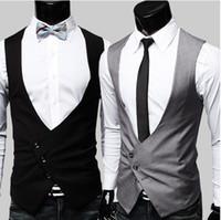 Wholesale men s V neck Slim vest mens Suit vest Outerwear black gray