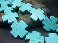 Wholesale 25MM Blue Howlite Turquoise Cross Loose Beads T192