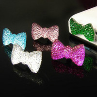 Wholesale Bling Crystal Bowknot Headset Hole Dustproof Cap Plug for iPhone S Ipad Itouch