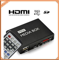 Wholesale USB HD HDMI Multi Media Player Mini Box TV Display W Remote Control RC AV Out