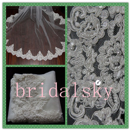 Wholesale New Arrival Alencon lace Beaded Gorgeous Chapel Beaded Bridal Wedding Veils Veil