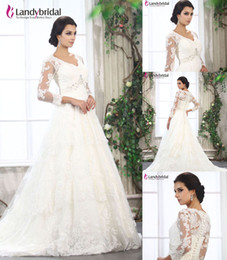 Wholesale New Landybridal A Line Lace Wedding Dresses B12077