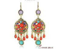 Wholesale New Bohemian Dazzling Colorful Tassels Earring Vintage Big Style Earring with Colors