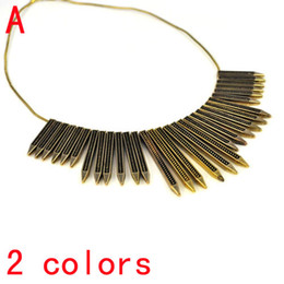 Wholesale 2colors Fashion Women Pendants Jewelry Needle Shape Metal Big Necklace NL