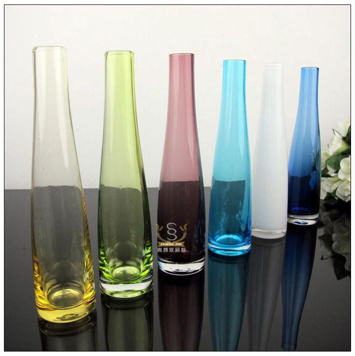 Popular colored glass flower bottles decoration flower for Colored bottles for decorations