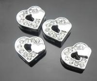 Wholesale mm rhinestone heart heart Slide Charms