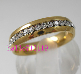 24Pcs Golden Silver Zircon Comfortable stainless steel rings wholesale lot