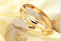 Wholesale 2013 women K gold plated bracelet gold GP bracelets diamond rhinestone CZ snake bangle jewelry