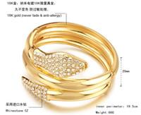 Wholesale Hot elegant K gold plated bracelet gold GP bracelets diamond rhinestone CZ snake bangle jewelry