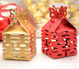 Wholesale European Fold Candy Box Wedding Favors Box Sweet Boxes Sunshine Red And Gold