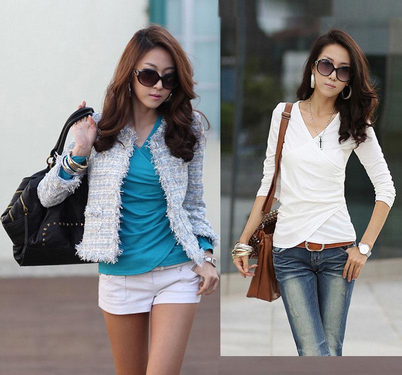 New Arrival Sexy Women`s Shirt Fashion Green Lapel Ladies Cotton