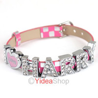 Wholesale 6pcs One Direction Pink Wristbands Crystal Slider Rhinestone Letter Bracelet I Love HARRY