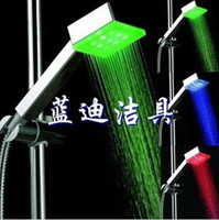 Wholesale 9led super bright square shower Digital Water Temperature changing color shower