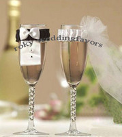 Wholesale Wedding Bride and Groom champagne Glass Cover Bride s Veil Groom s Tuexdo Glass Cover Party Decoration