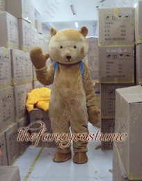 Wholesale adult size brown bear with blue schoolbag mascot costume character costume party outfit