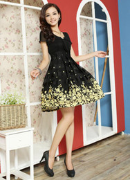 Wholesale M L XL XXL XXXL XXXXL XXXXXL Woman fashional dress O neck female flower dress colors