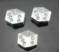 Wholesale 50pcs mm rhinestone dice Slide Charms Fit mm bracelet Pet Collar DIY Accessories