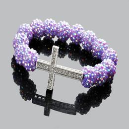 Best Gift 50pcs Hot Purple Resin Crystal Bead Fit Sideway Crystal Cross Stretch Bracelet New