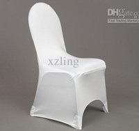 Banquet Chair Spandex / Polyester standard size DHL Free 150pcs white spandex banquet chair cover with an arch on feet for hotel,party,wedding