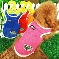 Wholesale New Pet Dog Cat Mesh Vest Clothes Fashion Large Dog Clothes T Shirt Colors Sizes Free Ship