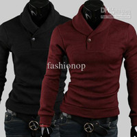 Wholesale Hottest Men s Sweater Fashion Korean Slim Pure Color Pullover Cardigan Long M L XL XXL Sleeve Cotton Blended Sweater NTFW