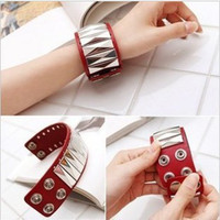 Wholesale Multicolor style rivet leather wide bracelet fashion charming hot sale balance bracelet