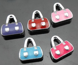 Wholesale 50pcs lot 8mm enamel bag diy alloy Slide Charms fit for 8mm phone strips leather wristband