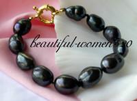 baroque tahitian pearl bracelet - 8 quot mm baroque Tahitian black freshwater pearl bracelet