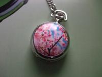 Unisex antique cherry - 2012 Hot oriental cherry silver mini Pocket Watch Antique wp193