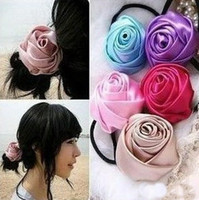 Wholesale Silk fabric hair band candy colored roses hair ring hair accessories headband