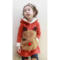 Wholesale Children cute hoodie autumn girl bear pattern sweater Leggings piece suit V7002