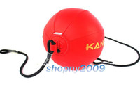 Wholesale Wushu kickboxing Exercise Boxing Floor To Ceiling Fitness Double end Leather Speed Ball Punch Black