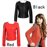 Wholesale New woman coat tassel PU leather Coat Jacket Motorcycle clothing Suit Black And Red