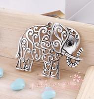Wholesale Brand New Hollow Tibetan Silver Plated Elephant With Rhinestone Eye Charms Pendants x50mm