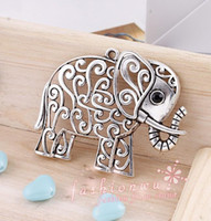 Wholesale IN STOCK MIC Hollow Tibetan Silver Plated Elephant Charms x50mm