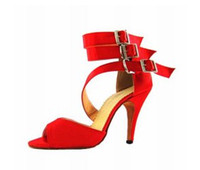 Wholesale Red Triple Strap Satin Ballroom Latin Shoes Latin Dance Shoes Ballroom Shoes SALSA Shoes