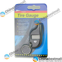 Wholesale Portable Mini Car LCD Digital Tyre Tire Pressure Gauges Tester with Keychain Black