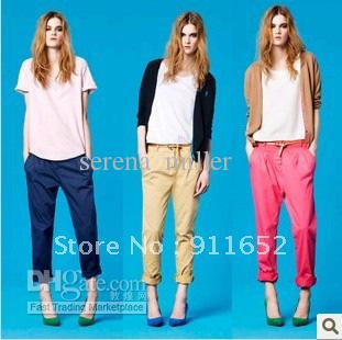 Wholesale - 2012 New fashion style for woman pants candy color