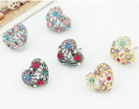 Wholesale lady Fashion heart love flower crystal rhinestone gold silver black tone stud studs earring earrings